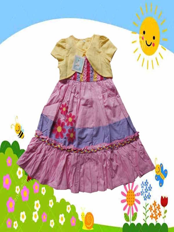 Dress-Anak-Branded-Alize-Kids-Pink-Rompi-Kuning-B